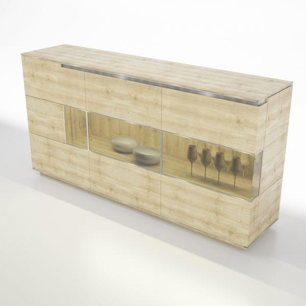 ACERNO tömörfa üveges komód – 76115